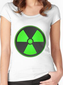 Green Radioactive Symbol Women's Fitted Scoop T-Shirt