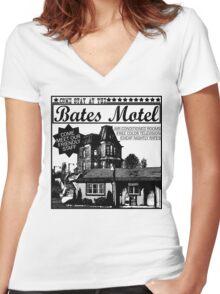 Bates Motel - Black Type Women's Fitted V-Neck T-Shirt