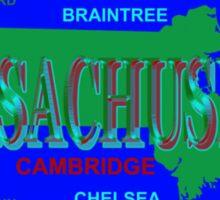 Massachusetts State Pride Map Silhouette  Sticker