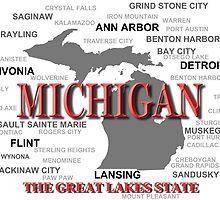 Michigan State Pride Map Silhouette  by KWJphotoart
