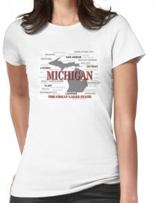 Michigan State Pride Map Silhouette  Womens Fitted T-Shirt
