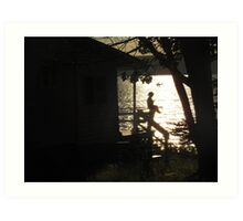 Silhouette by the Lake Art Print