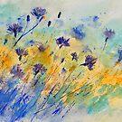 watercolor cornflowers by calimero