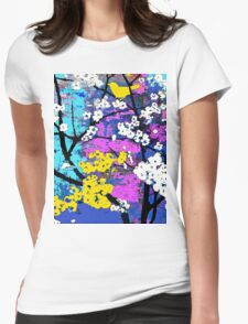 Spring Flowers of White and Yellow Birds Womens Fitted T-Shirt