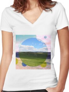 All About Italy. Tuscany Landscape 3 Women's Fitted V-Neck T-Shirt