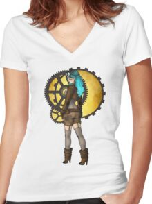 Steampunk Pinup Women's Fitted V-Neck T-Shirt