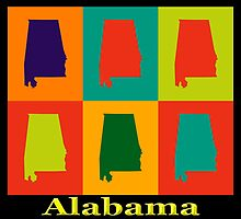 Colorful Alabama State Pop Art Map by KWJphotoart