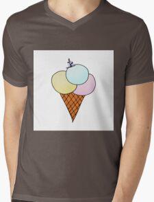 Ice-cream with skier Mens V-Neck T-Shirt