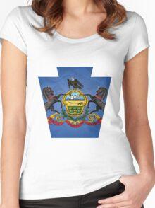 Pensylvania Keystone Flag Women's Fitted Scoop T-Shirt