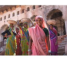 Indian women at work, Orchha, India  Photographic Print