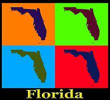 Colorful Florida State Pop Art Map by KWJphotoart