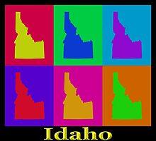 Colorful Idaho State Pop Art Map by KWJphotoart