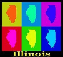 Colorful Illinois State Pop Art Map by KWJphotoart