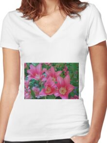 Pink Tulips Women's Fitted V-Neck T-Shirt