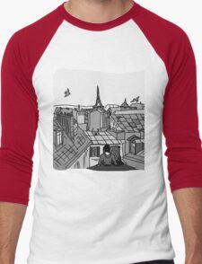 Paris, black and white Men's Baseball ¾ T-Shirt