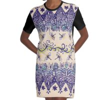 Dragonfly Rustic Peasant Print Graphic T-Shirt Dress