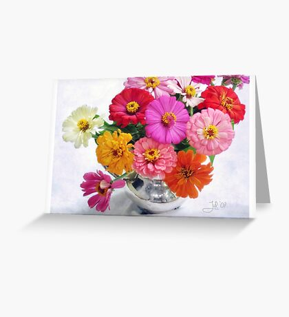 Zinnia Blooms Still Life Greeting Card