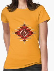 Red Native American-Style Sunburst Womens Fitted T-Shirt