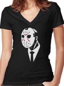 Friday the 13th - Dapper Jason Gore Quarterly Women's Fitted V-Neck T-Shirt