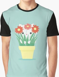 Kitty in Plant Graphic T-Shirt