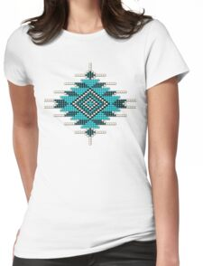 Turquoise Native American-Style Sunburst Womens Fitted T-Shirt