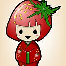 Strawberry Kokeshi Doll by Bubble Doll