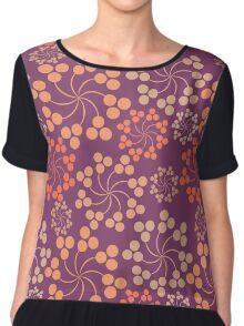 Purple and Orange Fireworks - Flower, Pretty Abstract Purple Design Chiffon Top