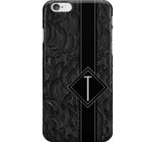 1920s Jazz Deco Swing Monogram black & silver letter T iPhone Case/Skin
