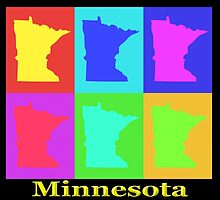 Colorful Minnesota State Pop Art Map by KWJphotoart