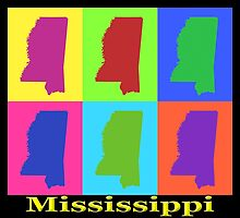 Colorful Mississippi State Pop Art Map by KWJphotoart