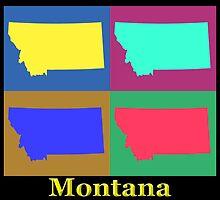 Colorful Montana State Pop Art Map by KWJphotoart