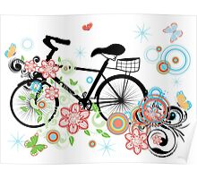 Bicycle and Floral Ornament Poster
