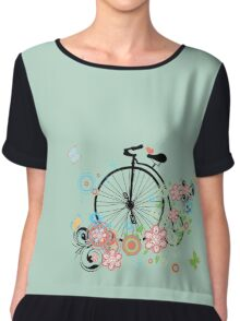 Bicycle and Floral Ornament 2 Chiffon Top
