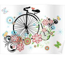 Bicycle and Floral Ornament 2 Poster