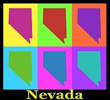Colorful Nevada State Pop Art Map by KWJphotoart
