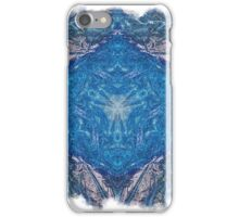 Crystalline Blue 1 - with frame iPhone Case/Skin