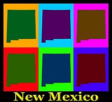 Colorful New Mexico Pop Art Map by KWJphotoart