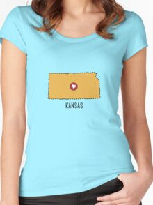 Kansas State Heart Women's Fitted Scoop T-Shirt