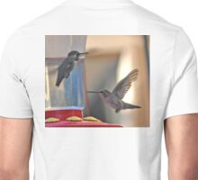 MALE AND FEMALE HUMMINGBIRDS CHATTING Unisex T-Shirt