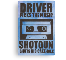 Driver Picks the Music Canvas Print