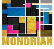 Mondrian Blue Pink Black  by Traci VanWagoner