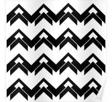 chevron pattern in black and white 03 Poster