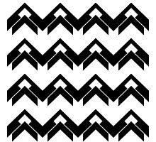 chevron pattern in black and white 03 Photographic Print