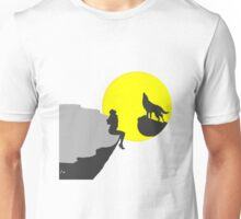 Woman and Wolf Howl in the Night Unisex T-Shirt