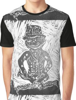 Frog Lino Cut In Black and White  Graphic T-Shirt