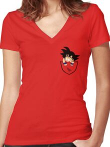 Pocket Saiyan Women's Fitted V-Neck T-Shirt