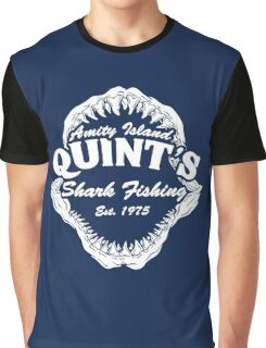 Quints Shark Fishing Amity Island - Jaws Funny 70s Movie Graphic T-Shirt