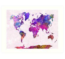 World map in watercolor  Art Print