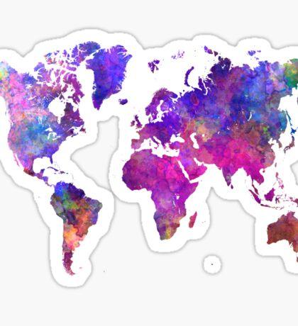 World map in watercolor  Sticker