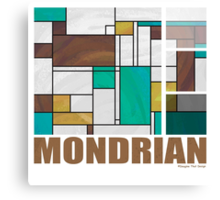 Mondrian Brown Yellow Teal  Canvas Print